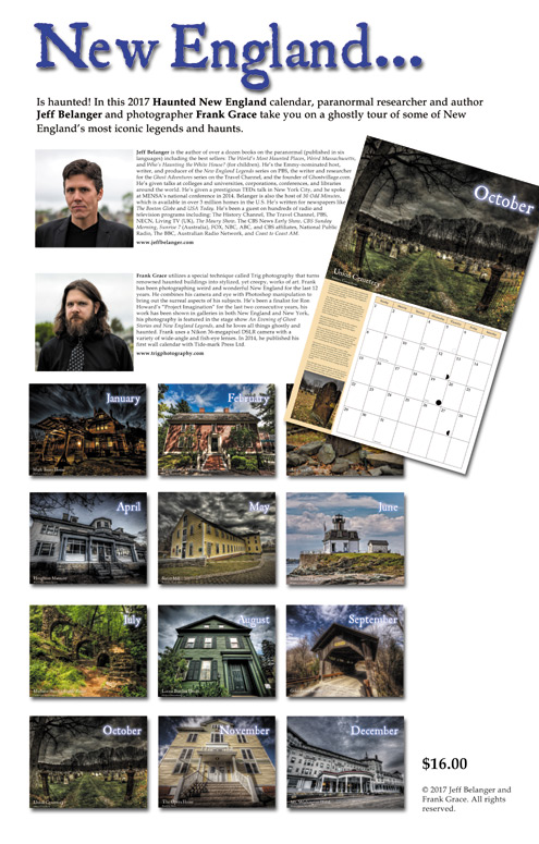 2017 Haunted New England Calendar by Jeff Belanger, photography by Frank Grace