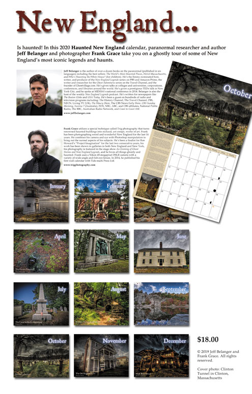 2020 Haunted New England Calendar by Jeff Belanger, photography by Frank Grace